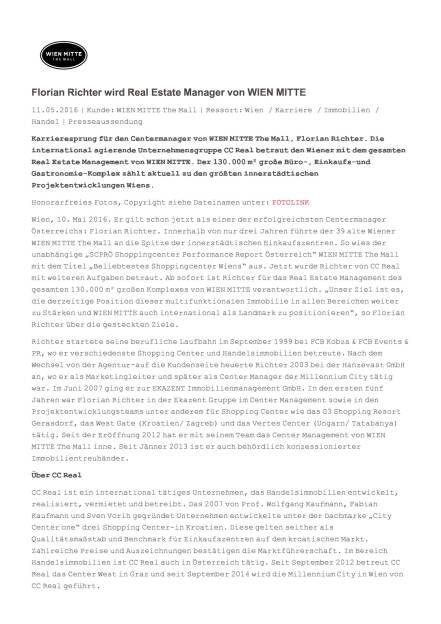 Wien Mitte: Florian Richter wird Real Estate Manager, Seite 1/2, komplettes Dokument unter http://boerse-social.com/static/uploads/file_1036_wien_mitte_florian_richter_wird_real_estate_manager.pdf (11.05.2016)