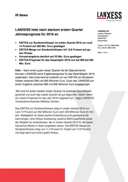 LANXESS, Seite 1/4, komplettes Dokument unter http://boerse-social.com/static/uploads/file_1037_lanxess_anhebung_jahresprognose_fur_2016.pdf (11.05.2016)