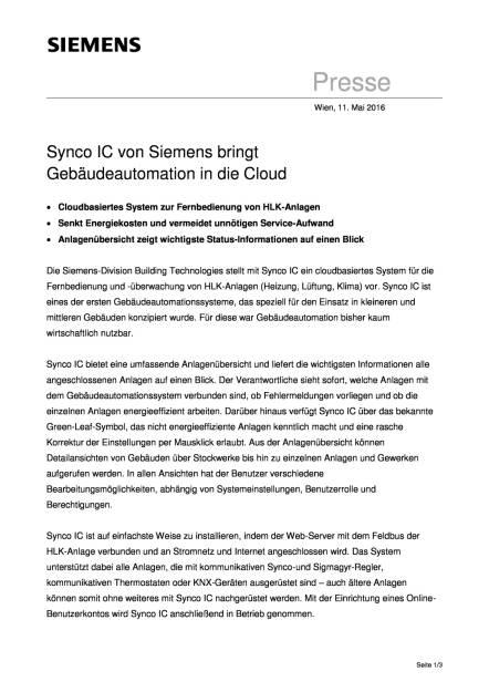 Siemens: Synco IC bringt Gebäudeautomation in die Cloud, Seite 1/3, komplettes Dokument unter http://boerse-social.com/static/uploads/file_1039_siemens_synco_ic_bringt_gebaudeautomation_in_die_cloud.pdf (11.05.2016)