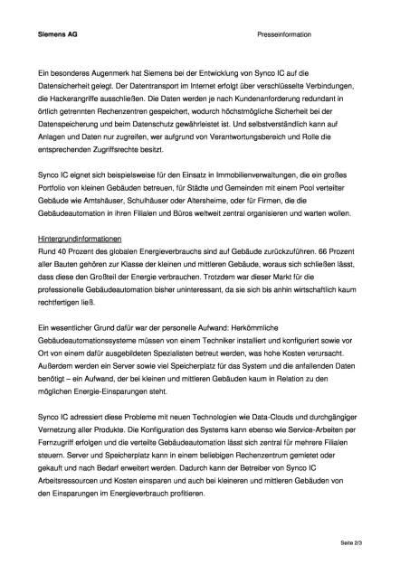 Siemens: Synco IC bringt Gebäudeautomation in die Cloud, Seite 2/3, komplettes Dokument unter http://boerse-social.com/static/uploads/file_1039_siemens_synco_ic_bringt_gebaudeautomation_in_die_cloud.pdf (11.05.2016)