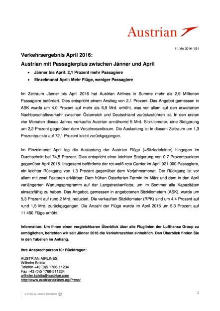 Austrian Airlines: Verkehrsergebnis April 2016, Seite 1/3, komplettes Dokument unter http://boerse-social.com/static/uploads/file_1038_austrian_airlines_verkehrsergebnis_april_2016.pdf (11.05.2016)