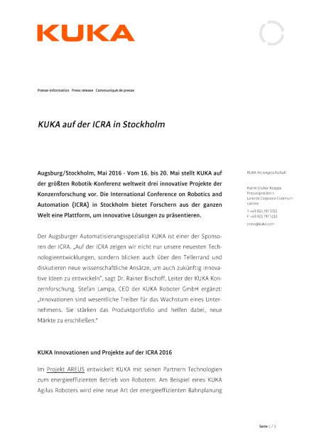 KUKA auf der ICRA in Stockholm, Seite 1/3, komplettes Dokument unter http://boerse-social.com/static/uploads/file_1040_kuka_auf_der_icra_in_stockholm.pdf (11.05.2016)