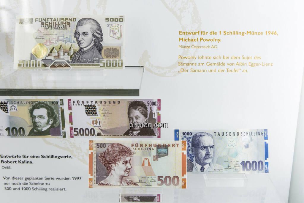 5.000-Schilling-Note aus dem Jahr 1988, Wolfgang Amadeus Mozart, 500- , Rosa Mayreder, und 1.000-Schilling-Note, Karl Landsteiner, aus dem Jahr 1997, © finanzmarktfoto.at/Martina Draper (15.04.2013)