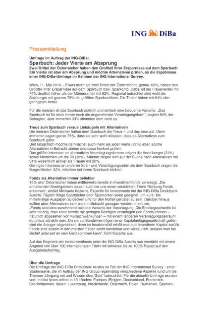 ING-DiBa Umfrage: Sparbuch: Jeder Vierte am Absprung, Seite 1/2, komplettes Dokument unter http://boerse-social.com/static/uploads/file_1042_ing-diba_umfrage_sparbuch_jeder_vierte_am_absprung.pdf (11.05.2016)