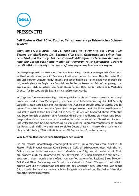 Dell Business Club 2016: Future, Fetisch und ein prähistorisches Schwergewicht , Seite 1/3, komplettes Dokument unter http://boerse-social.com/static/uploads/file_1043_dell_business_club_2016_future_fetisch_und_ein_prahistorisches_schwer-gewicht.pdf (11.05.2016)