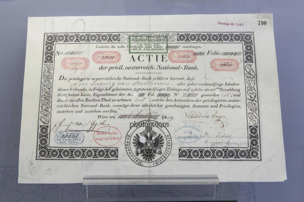 Aktie der Privilegierten österreichischen National-Bank, ausgestellt am 13.7.1819 auf Ludwig van Beethoven, © finanzmarktfoto.at/Martina Draper (15.04.2013)