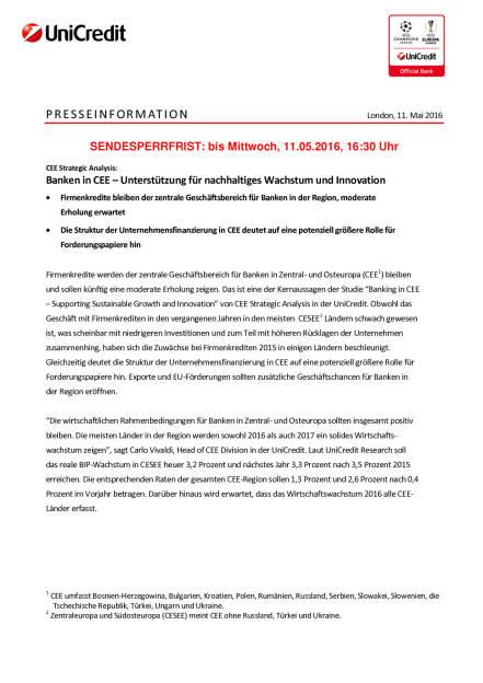 Bank Austria: Banken in CEE – Unterstützung für nachhaltiges Wachstum und Innovation, Seite 1/5, komplettes Dokument unter http://boerse-social.com/static/uploads/file_1041_bank_austria_banken_in_cee_unterstutzung_fur_nachhaltiges_wachstum_und_innovation.pdf (11.05.2016)