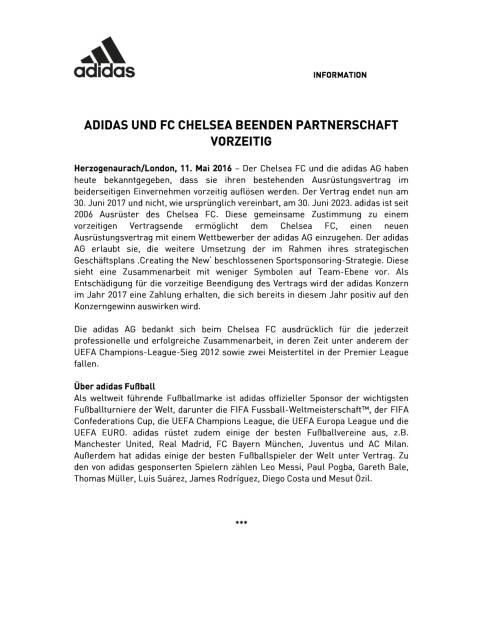 adidas und FC Chelsea beenden Partnerschaft, Seite 1/2, komplettes Dokument unter http://boerse-social.com/static/uploads/file_1045_adidas_und_fc_chelsea_beenden_partnerschaft.pdf (11.05.2016)