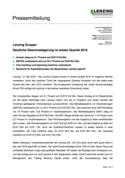 Lenzing Q1/2016, Seite 1/4, komplettes Dokument unter http://boerse-social.com/static/uploads/file_1046_lenzing_q12016.pdf (12.05.2016)