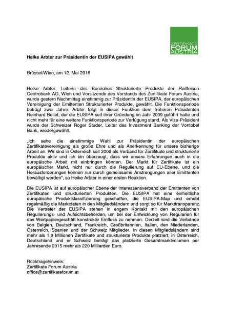 ZFA: Heike Arbter zur Präsidentin der EUSIPA gewählt, Seite 1/1, komplettes Dokument unter http://boerse-social.com/static/uploads/file_1051_zfa_heike_arbter_zur_prasidentin_der_eusipa_gewahlt.pdf (12.05.2016)