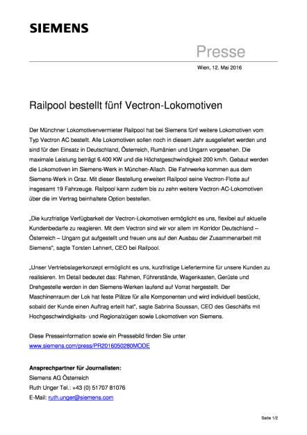 Siemens: Railpool bestellt fünf Vectron-Lokomotiven , Seite 1/2, komplettes Dokument unter http://boerse-social.com/static/uploads/file_1055_siemens_railpool_bestellt_funf_vectron-lokomotiven.pdf (12.05.2016)