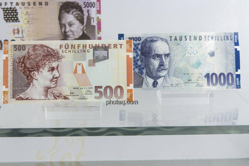 500-, Rosa Mayreder und 1.000-Schilling-Note, Karl Landsteiner,  aus dem Jahr 1997, © finanzmarktfoto.at/Martina Draper (15.04.2013)