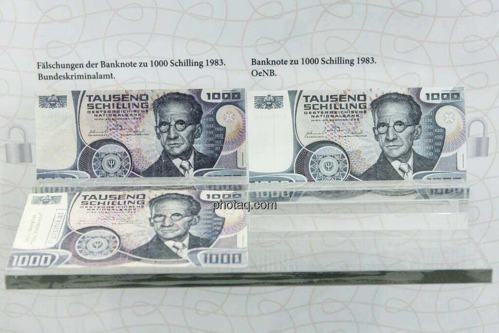 1.000-Schilling-Note, Erwin Schrödinger, aus dem Jahr 1983 - Fälschungen und Original, © finanzmarktfoto.at/Martina Draper (15.04.2013)