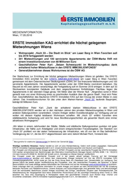 ERSTE Immobilien KAG errichtet die höchst gelegenen Mietwohnungen Wiens, Seite 1/3, komplettes Dokument unter http://boerse-social.com/static/uploads/file_1067_erste_immobilien_kag_errichtet_die_hochst_gelegenen_mietwohnungen_wiens.pdf (17.05.2016)