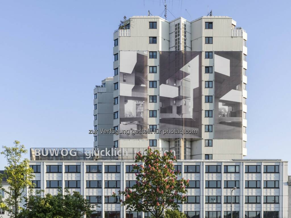 Fassade Hietzinger Kai : Buwog-Zentrale mit Fassaden-Kunstprojekt : Fotocredit: Buwog/Stephan Huger, © Aussendung (18.05.2016)