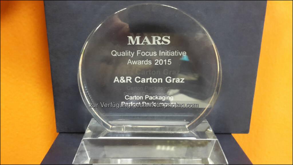 A&R Carton Graz mit Quality Award des Mars Konzerns ausgezeichnet : Fotocredit: A&R Carton Graz , © Aussendung (23.05.2016)