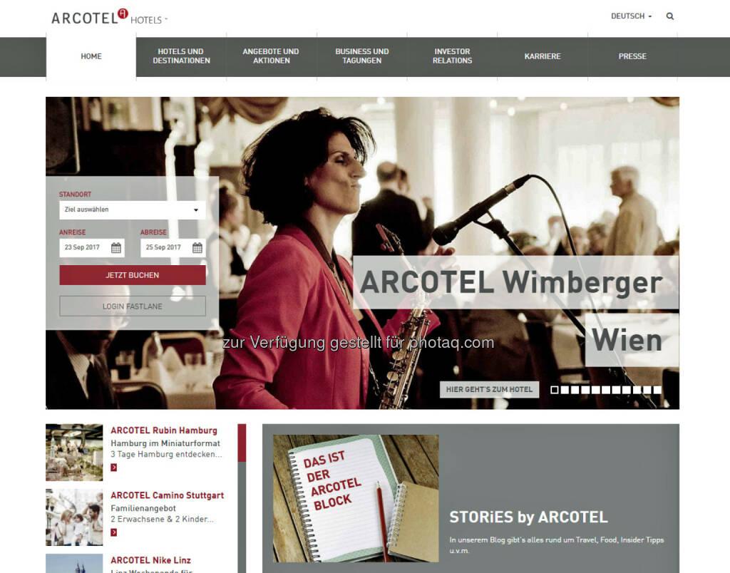Neue Homepage Arcotel : Website von Arcotel nach Relaunch online : Fotocredit: Arcotel Hotels, © Aussendung (23.05.2016)