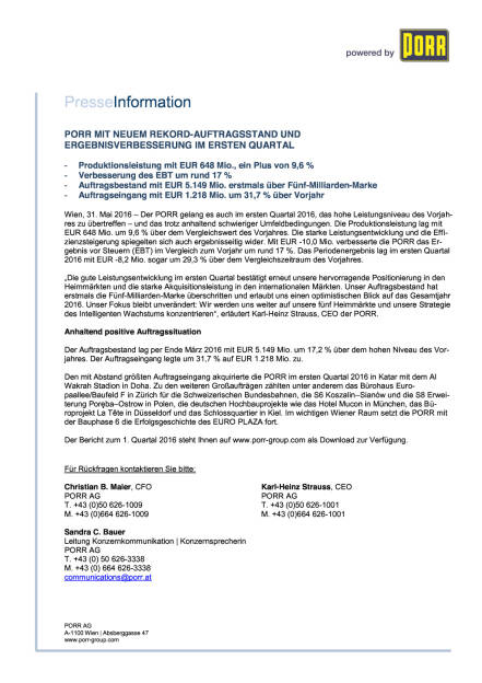 Porr Q1 2016, Seite 1/1, komplettes Dokument unter http://boerse-social.com/static/uploads/file_1136_porr_q1_2016.pdf (31.05.2016)