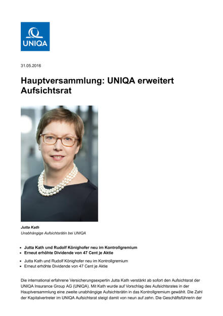 Uniqa erweitert Aufsichtsrat, Seite 1/3, komplettes Dokument unter http://boerse-social.com/static/uploads/file_1138_uniqa_erweitert_aufsichtsrat.pdf (31.05.2016)