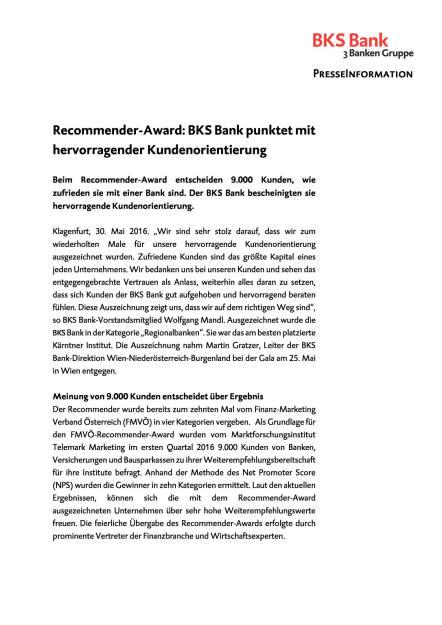 BKS Bank: Auszeichnung für hervorragende Kundenorientierung , Seite 1/2, komplettes Dokument unter http://boerse-social.com/static/uploads/file_1142_bks_bank_auszeichnung_fur_hervorragende_kundenorientierung.pdf (31.05.2016)