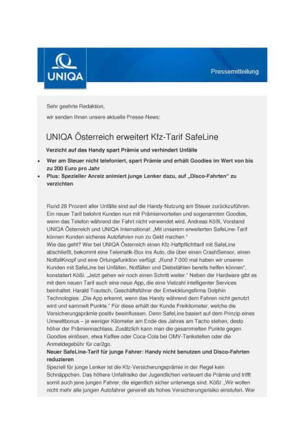 Uniqa Österreich erweitert Kfz-Tarif SafeLine, Seite 1/3, komplettes Dokument unter http://boerse-social.com/static/uploads/file_1156_uniqa_osterreich_erweitert_kfz-tarif_safeline.pdf (02.06.2016)