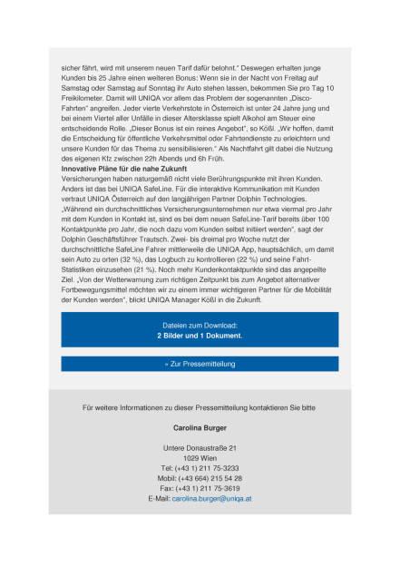 Uniqa Österreich erweitert Kfz-Tarif SafeLine, Seite 2/3, komplettes Dokument unter http://boerse-social.com/static/uploads/file_1156_uniqa_osterreich_erweitert_kfz-tarif_safeline.pdf (02.06.2016)