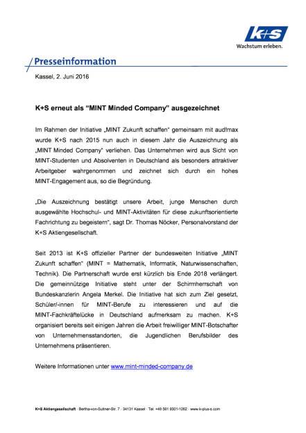 """K+S erneut als """"MINT Minded Company"""" ausgezeichnet, Seite 1/2, komplettes Dokument unter http://boerse-social.com/static/uploads/file_1159_ks_erneut_als_mint_minded_company_ausgezeichnet.pdf (02.06.2016)"""