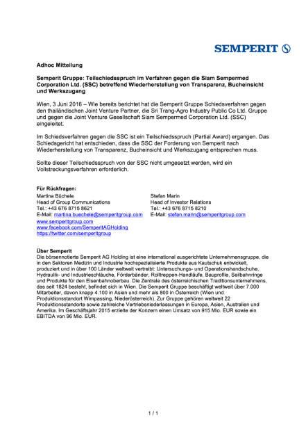 Semperit: Teilschiedsspruch im Verfahren gegen die Siam Sempermed , Seite 1/1, komplettes Dokument unter http://boerse-social.com/static/uploads/file_1169_semperit_teilschiedsspruch_im_verfahren_gegen_die_siam_sempermed.pdf (03.06.2016)