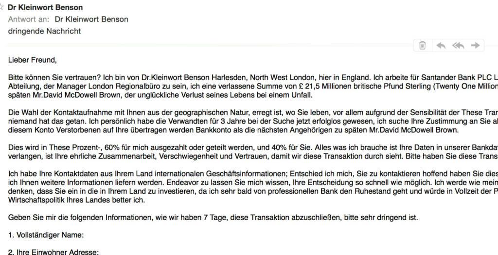 Kleinwort Benson Santander Spam (06.06.2016)