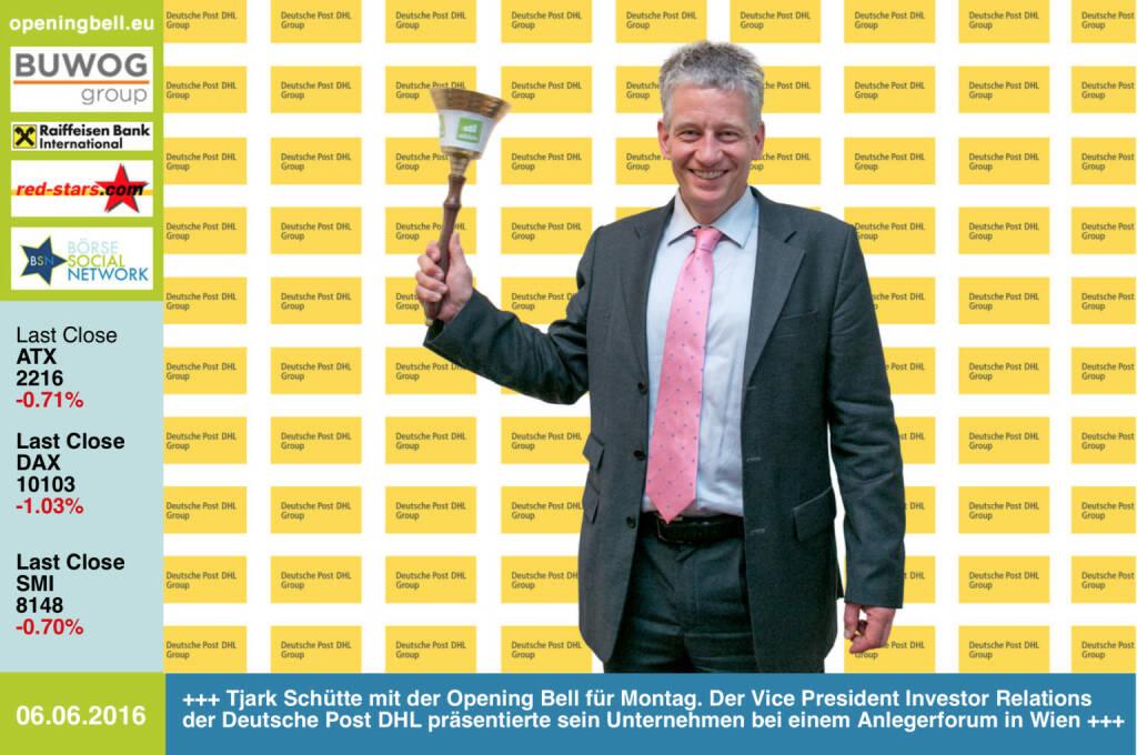 #openingbell am 6.6:  Tjark Schütte mit der Opening Bell für Montag. Der Vice President Investor Relations der Deutsche Post DHL präsentierte sein Unternehmen bei einem Anlegerforum in Wien http://www.dpdhl.com http://www.openingbell.eu (06.06.2016)
