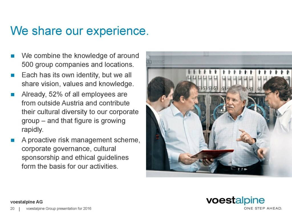 voestalpine - We share our experience (06.06.2016)
