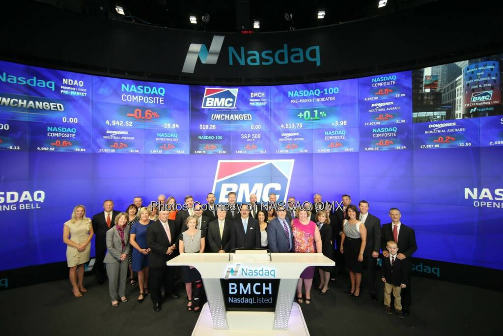 Great to have BMC Stock Holdings (formerly Stock Building Supply) here earlier today to run the #Nasdaq opening bell!  Source: http://facebook.com/NASDAQ (06.06.2016)