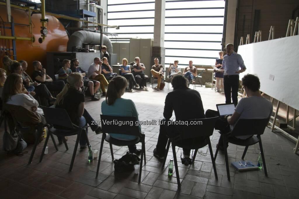 Workshop im Kraftwerk der Tabakfabrik Linz (Mai 2015) : Kooperation Tabakfabrik Linz und Johannes Kepler Universität : Verwendung der Turbinen des Kraftwerks der Tabakfabrik als Triebwerk der (inter- und transdisziplinären) Forschung :  Fotocredit: Verena*Henetmayr, © Aussendung (07.06.2016)