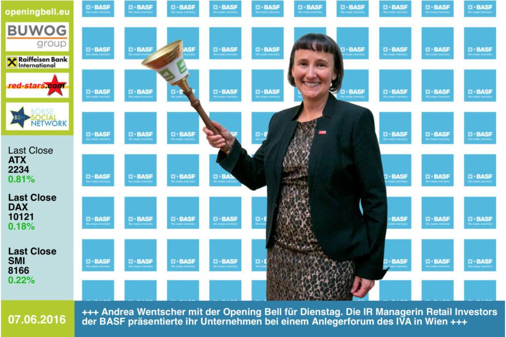#openingbell am 7.6: Andrea Wentscher mit der Opening Bell für Dienstag. Die IR Managerin Retail Investors der BASF präsentierte ihr Unternehmen bei einem Anlegerforum des IVA in Wien http://www.basf.com http://www.openingbell.eu (07.06.2016)