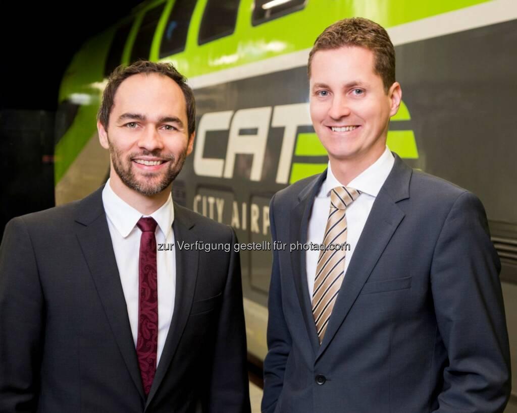Michael Zach und Michael Forstner (CAT Geschäftsführung) : City Airport Train steigerte 2015 Passagier- und Umsatzzahlen : Fotocredit: CAT / Hammerschmid, © Aussender (07.06.2016)