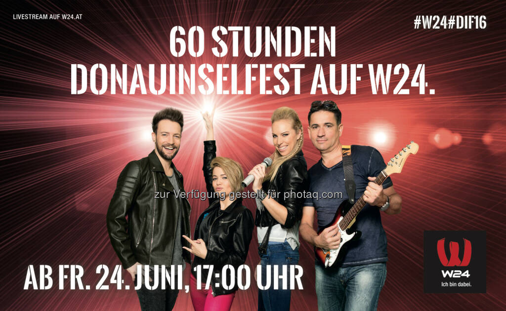 Peter Schreiber, Jenny Posch, Nadine Friedrich, Gerhard Koller : W24 berichtet wieder über 60 Stunden vom Wiener Donauinselfest : Fotocredit: W24/Kawka (15.06.2016)