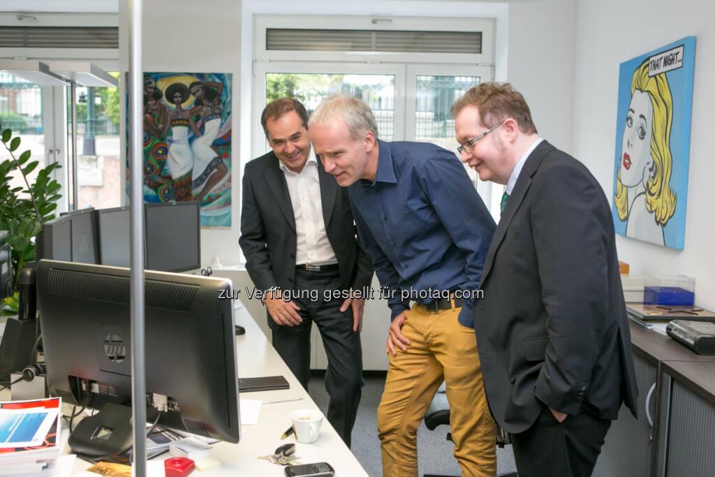 WTF - Wolfgang Matejka (Matejka & Partner), Christian Drastil (BSN), Gregor Rosinger (Rosinger Group), Aktien, Kurse, Kursentwicklung, © Martina Draper/photaq (16.06.2016)