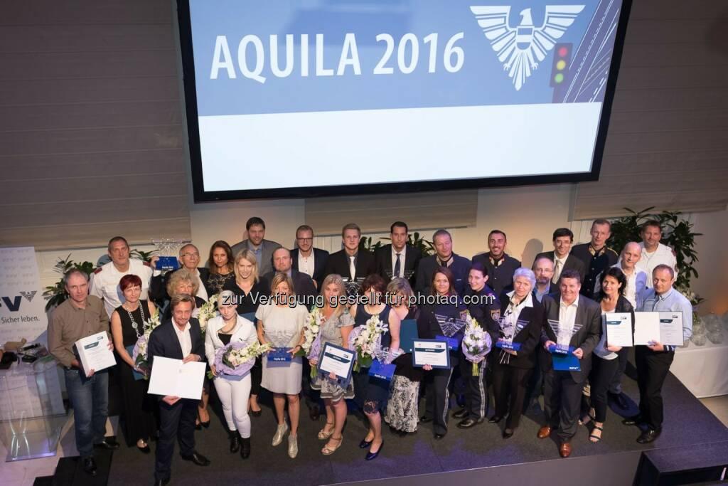 """Aquila 2016 – Preisträger : Österreichischer Verkehrssicherheitspreis """"Aquila 2016"""" verliehen : Fotocredit: KFV/APA-Fotoservice/ Buchacher, © Aussendung (17.06.2016)"""
