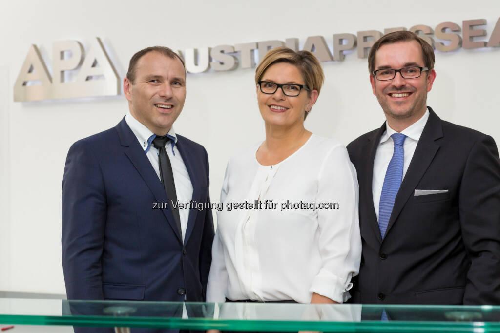 Peter Kropsch, Karin Thiller, Clemens Pig (alle APA) : APA-Konzernbilanz 2015 mit Umsatzplus und stabilem Ergebnis : Fotocredit: APA/Ludwig Schedl, © Aussender (17.06.2016)