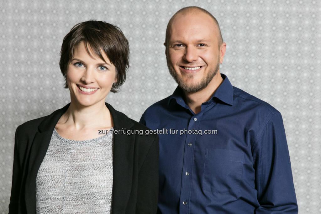 Gerhild Salcher (Chefradaktion), Hannes Huss (Stv. Chefredaktion) : Die neue Chefredaktion von W24 : Fotocredit: W24/Nußbaum , © Aussender (24.06.2016)