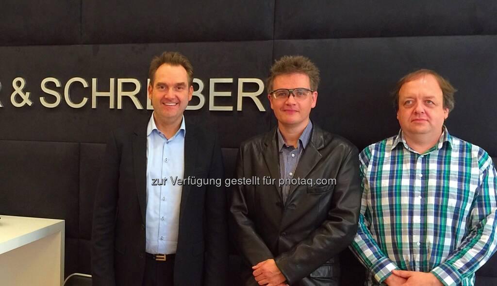 Oliver Grün, Klaus Schwarz und Markus Unterberger (Gesellschafter Grün Fundraising Services GmbH) : Grün Software steigt mit IT&O in österreichischen Non-Profit-Markt ein : Fotocredit: Grün Software AG, © Aussendung (28.06.2016)