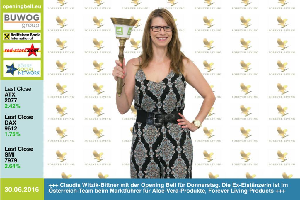 #openingbell am 30.6: Claudia Witzik-Bittner mit der Opening Bell für Donnerstag. Die Ex-Eistänzerin ist im Österreich-Team beim Marktführer für Aloe-Vera-Produkte, Forever Living Products http://www.flp.at http://www.openingbell.eu (30.06.2016)