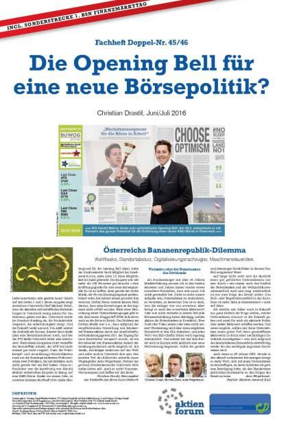 Fachheft 45-46 - Die Opening Bell für eine neue Börsepolitik? (05.07.2016)