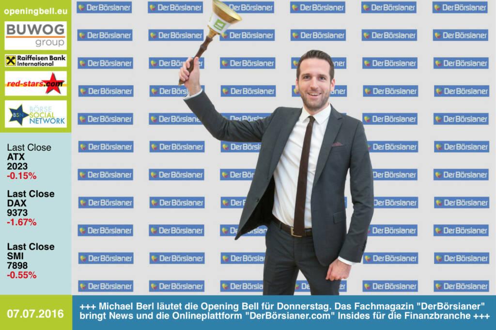 #openingbell am 7.7: Michael Berl läutet die Opening Bell für Donnerstag. Das Fachmagazin DerBörsianer bringt News und die Onlineplattform DerBörsianer.com Insides für die Finanzbranche http://www.derboersianer.com http://www.openingbell.eu (07.07.2016)