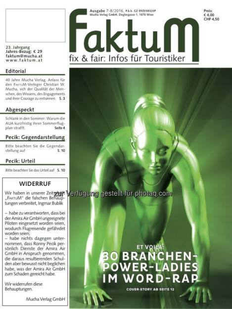 Cover-Illustration zu FaktuM 7-8/2016 : Die Branchen-Power-Ladies im Word-Rap : Fotocredit: Montage/Grafik Mucha Verlag, © Aussender (15.07.2016)