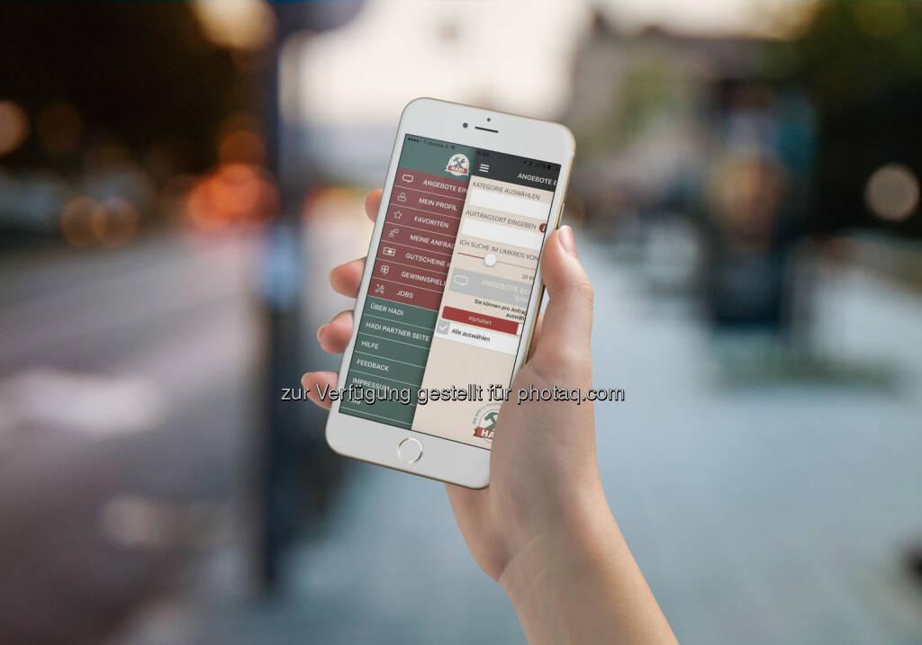 Hadi App : Per Smartphone Handwerker & Dienstleister finden - und als Unternehmer zu günstigen Konditionen einkaufen: Fotocredit: Hadi App GmbH/Envato Market / Punedesign (25.07.2016)
