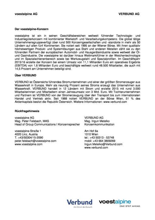 voestalpine und Verbund starten strategische Kooperationsprojekte, Seite 3/3, komplettes Dokument unter http://boerse-social.com/static/uploads/file_1503_voestalpine_und_verbund_starten_strategische_kooperationsprojekte.pdf