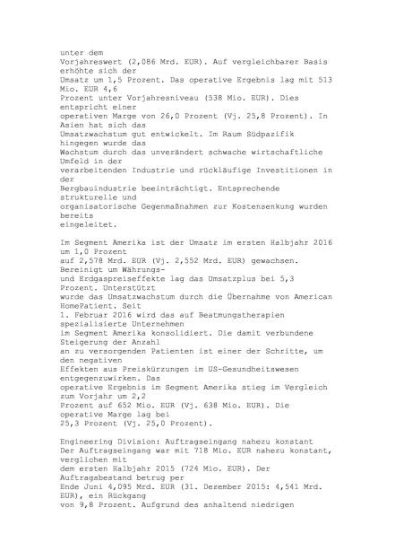 Linde Halbjahresergebnis, Seite 3/6, komplettes Dokument unter http://boerse-social.com/static/uploads/file_1513_linde_halbjahresergebnis.pdf (28.07.2016)