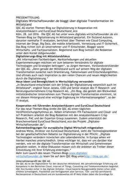 QSC AG startet Themen-Blog zur Digitalisierung, Seite 1/2, komplettes Dokument unter http://boerse-social.com/static/uploads/file_1516_qsc_ag_startet_themen-blog_zur_digitalisierung.pdf (28.07.2016)