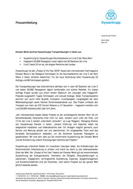 thyssenkrupp: Elevator World zeichnet Transportlösungen in Italien aus, Seite 1/2, komplettes Dokument unter http://boerse-social.com/static/uploads/file_1519_thyssenkrupp_elevator_world_zeichnet_transportlosungen_in_italien_aus.pdf (28.07.2016)